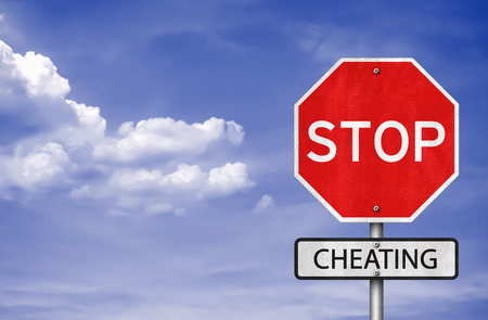 cheating: stop cheating road sign as 3D Ilustration Stock Photo