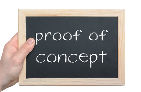 proof: proof of concept - chalkboard message Stock Photo