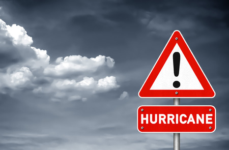 Hurricane attention road sign Imagens
