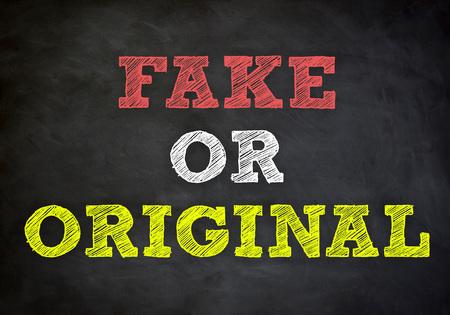 fib: fake or original - chalkboard concept Stock Photo