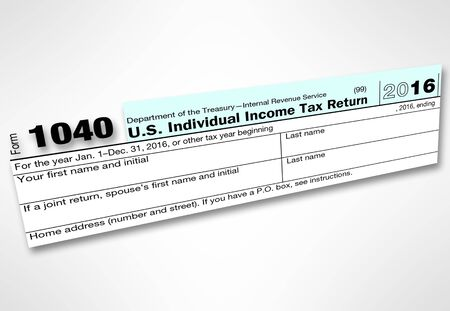 irs: US IRS tax form 1040 for 2016 Stock Photo