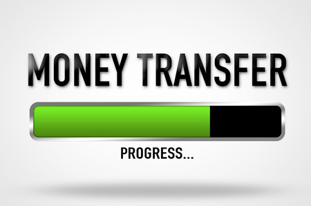 remit: Money transfer progress Stock Photo