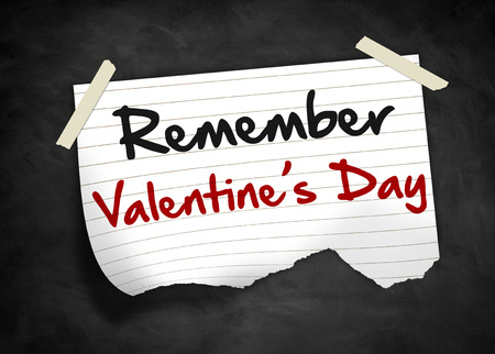 remember: Remember the Valentines Day - Note concept Foto de archivo