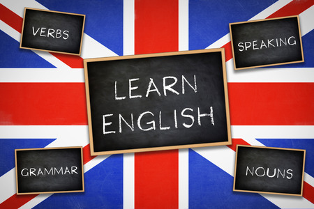 verbs: Learn English - Grammar Verbs Nouns Speaking - Practice Stock Photo