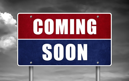 Coming soon - road sign Reklamní fotografie