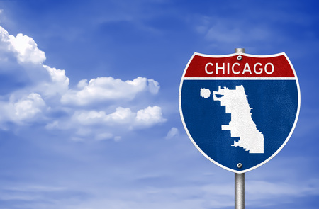 Chicago in Illinois - road sign map Imagens
