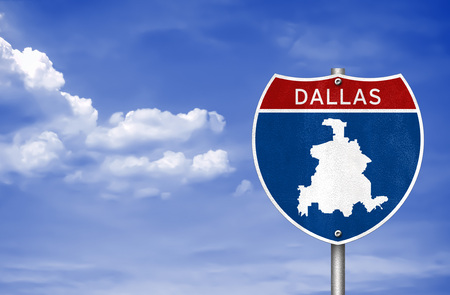 Dallas in Texas - road sign map