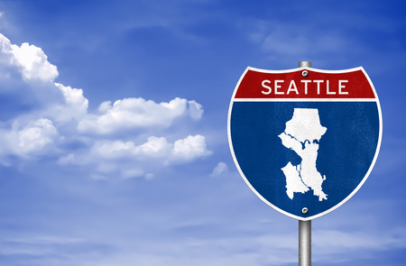 Seattle in Washington - road sign map