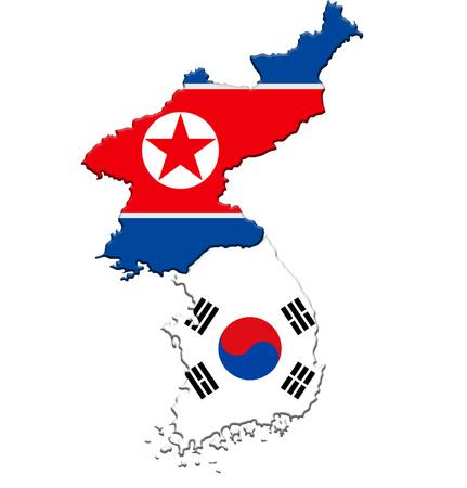 North Korea and South Korea - map flag icon