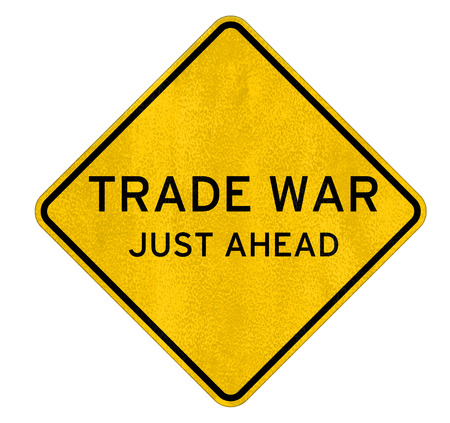 Trade War - road sign warning concept