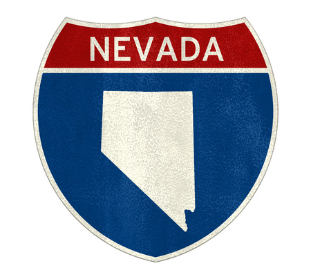 Nevada State Interstate road sign Imagens