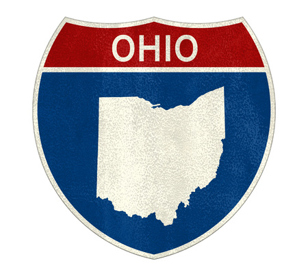 Ohio State Interstate road sign Imagens