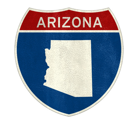 Arizona Interstate road sign map Imagens