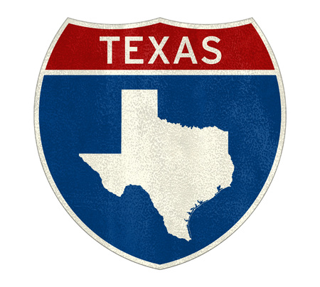 Texas Interstate road sign map Imagens