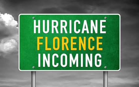 Hurricane Florence incoming - road sign Imagens - 109015094