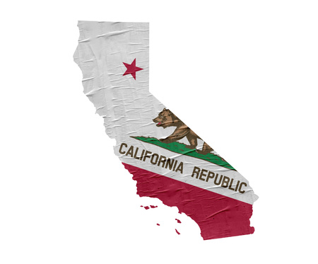 Map of the US State of California with grunge flag 版權商用圖片