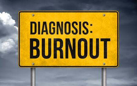 Diagnosis Burnout - road sign concept Stok Fotoğraf
