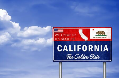 Welcome sign to the US State of California in America Banco de Imagens