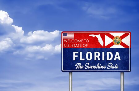Welcome sign to the US State of Florida in America Stok Fotoğraf