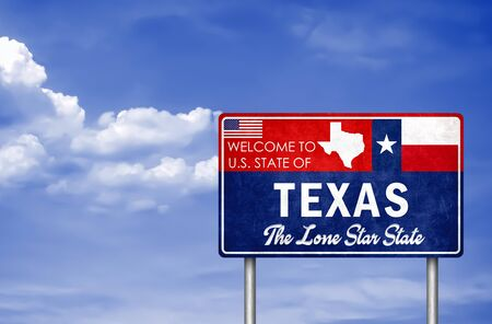 Welcome sign to the US State of Texas in America Stok Fotoğraf