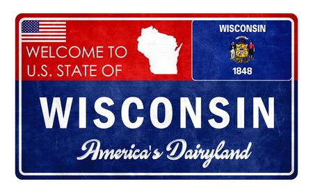 Welcome to Wisconsin - grunde sign Imagens - 126365987