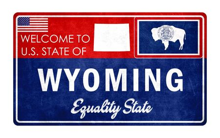 Welcome to Wyoming - grunde sign 스톡 콘텐츠