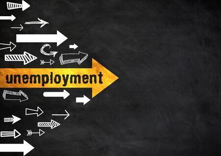 unemployment - chalkboard information about not in paid employment