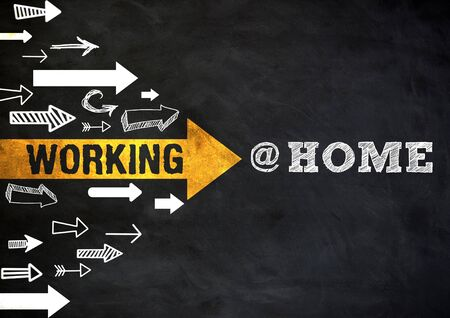 Working at home - chalkboard message Imagens