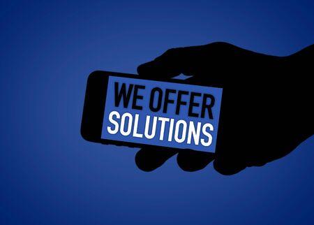 WE OFFER SOLUTIONS - digital social media illustration