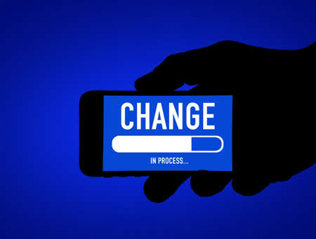 Change in process - mobile phone message 免版税图像