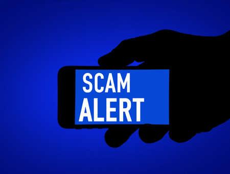Scam alert app - mobile phone warning 免版税图像