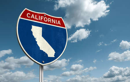 California - Interstate roadsign illustration with the map of California 免版税图像