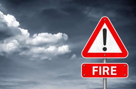 Fire warning roadsign message 免版税图像