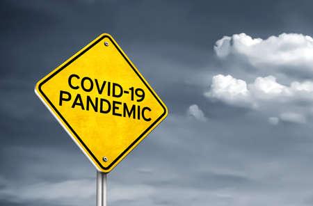 Covid-19 Pandemic yellow roadsign illustration