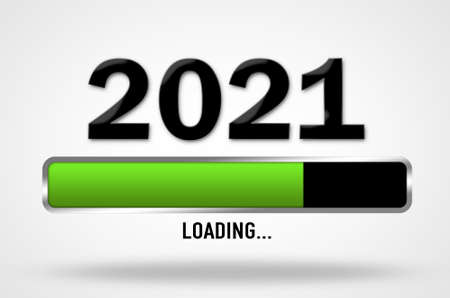 New Year 2021 coming, loading bar illustration 免版税图像