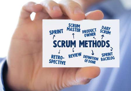 Scrum management process - business card 免版税图像