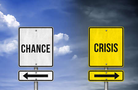 Chance versus Crisis - roadsign illustration