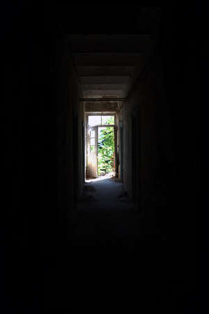 no way out: ? mysterious exit through the hall of darkness. Stock Photo