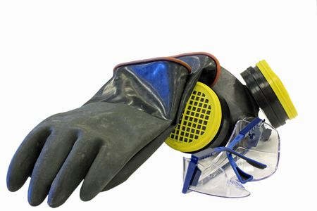 Chemical safety equipment including, glasses, gloves and respirator