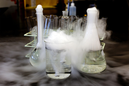 Carbon dioxide solid in flask