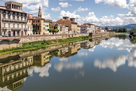 arno: Building Reflections in the Fiume Arno, Florence, Italy. Stock Photo