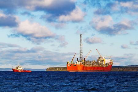 A FPSO oil production vessel.