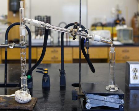 ethanol: Ethanol chemical distillation with heating mantle.