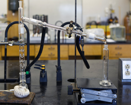 Ethanol chemical distillation with heating mantle.