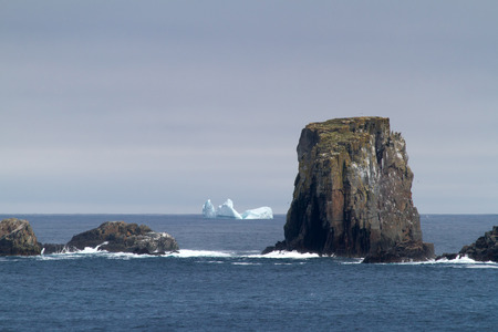 nfld: Atlantic coastline with rocks and iceberg.