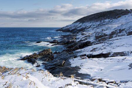 newfoundland: Atlantic coastline in winter. Stock Photo