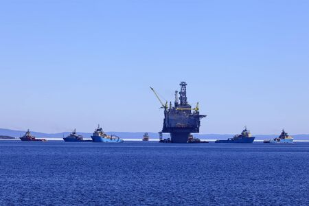subsea: Offshore oil and gas platform with supply ships. Stock Photo