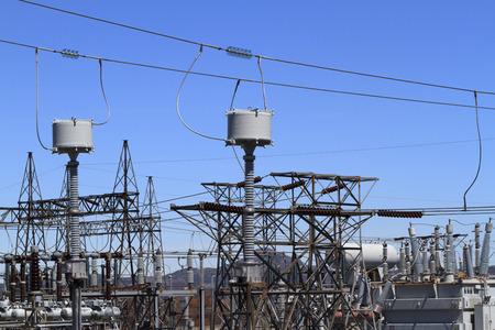 Equipment at a high voltage substation. Stok Fotoğraf