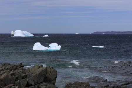 Icebergs along the Newfoundland coastline. Stock Photo - 87389678
