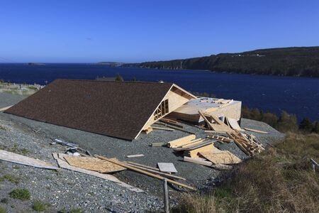House damaged from wind storm.